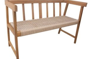 Timber Bench seat with paper cord seat O198